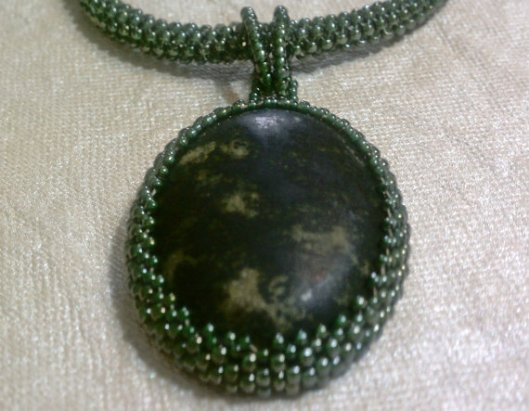 Green Peyote Stitched Necklace w Green Bezel at AWR Designs @ Etsy
